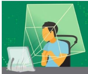 graphic of person in front of an eye tracking device