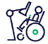 image shows a wheelchair in a tilted position and eye tracking device in correct position