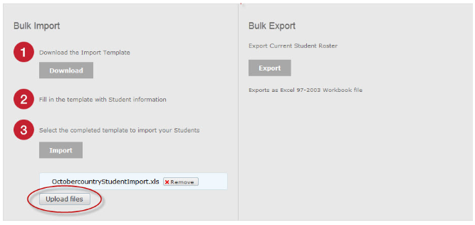 Bulk import. Upload files