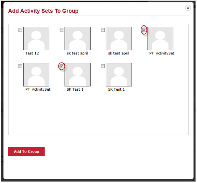 Add Activity sets to group