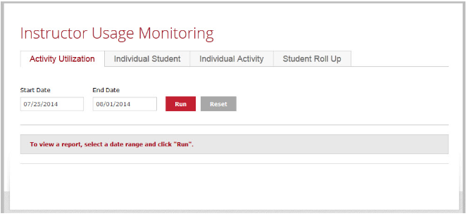 Instructor Usage Monitoring Page