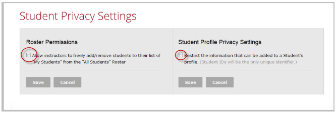 Student privacy settings