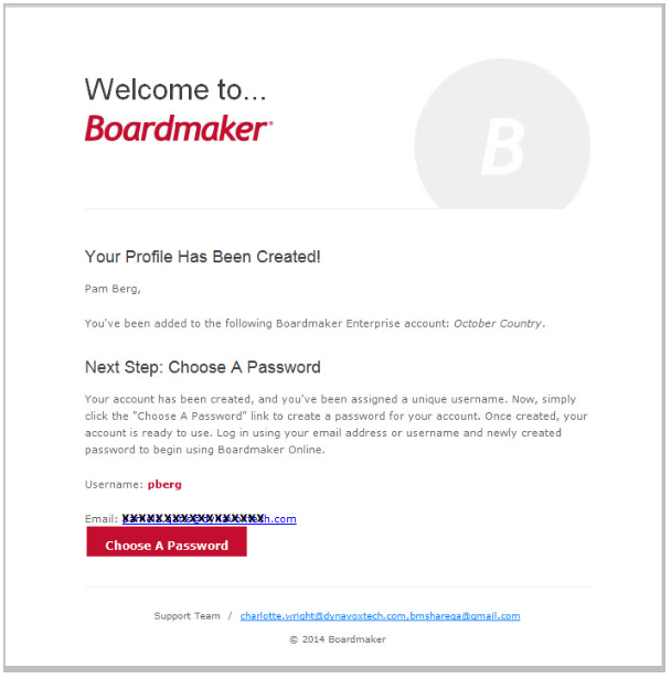 Welcome to Boardmaker, Your profile has been created!