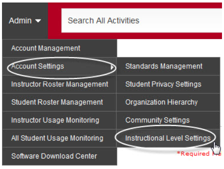 Admin, Account Settings, Instructional Level Settings