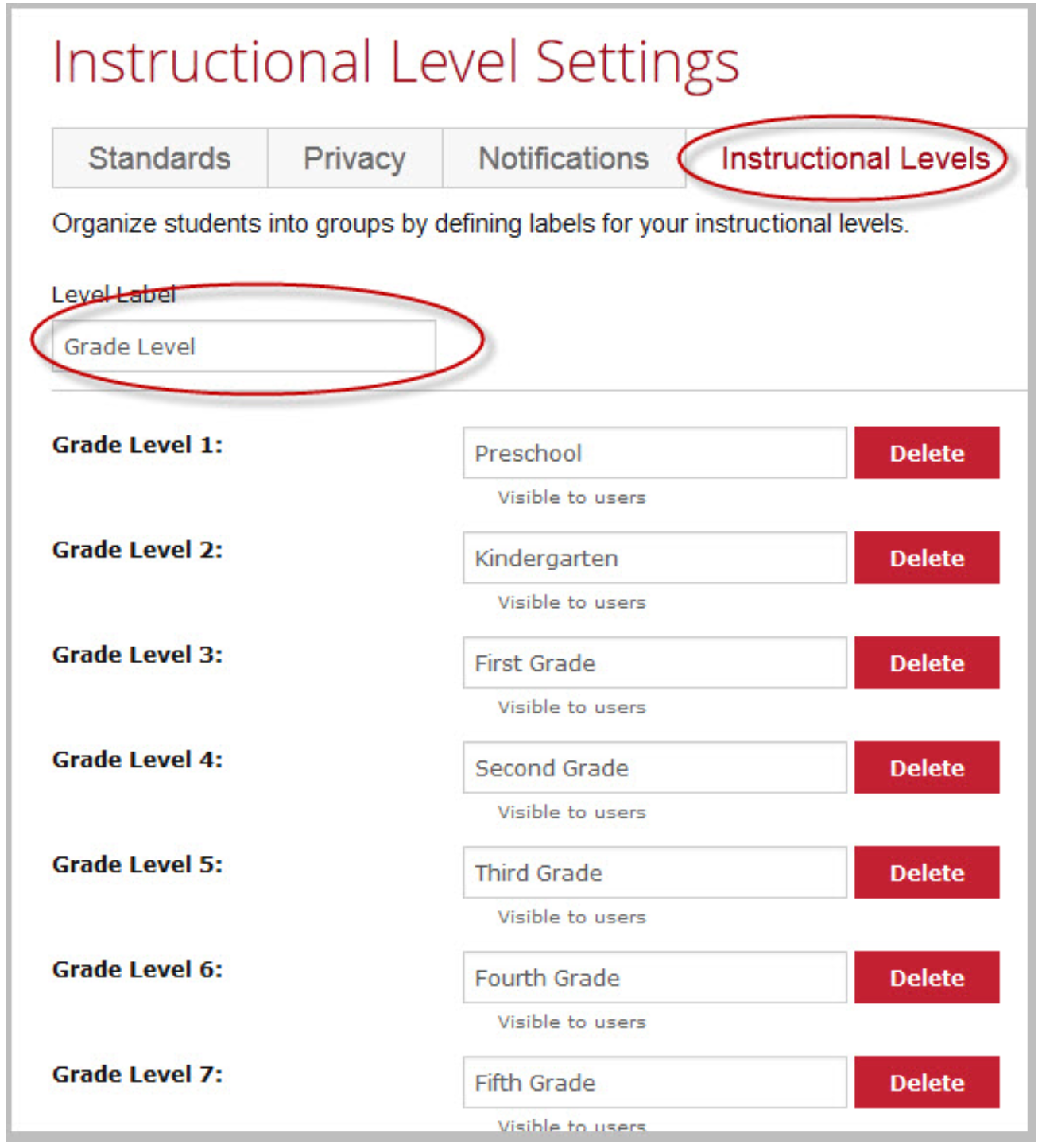 Instructional Level Settings
