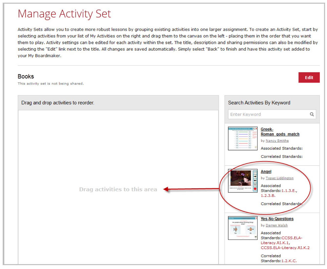 Manage Activity Set