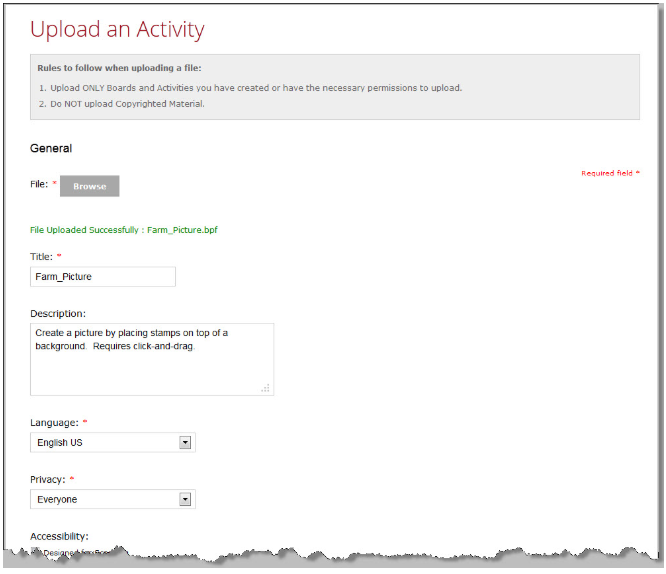 Upload an Activity