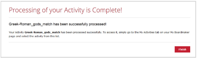 Processing of your Activity is Complete