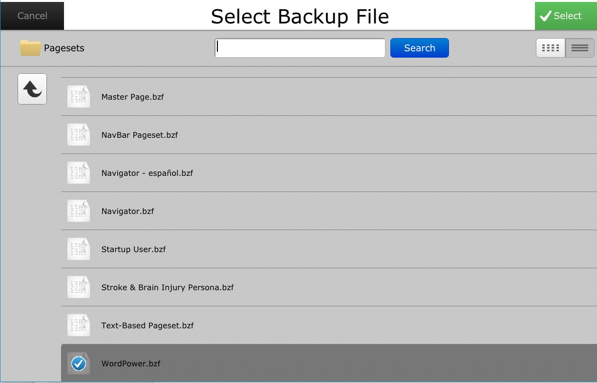 wordpower backup in restore menu